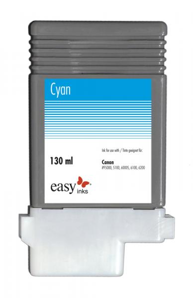 Easy Ink Tintentank Cyan für Canon iPF5100, iPF6100, iPF6200 mit kompatibler PFI-103 Tinte, 130ml