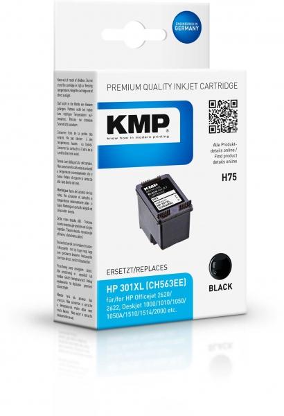 KMP Tinte H75 Schwarz ersetzt HP 301XL (CH563EE)