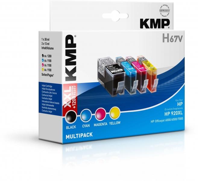 KMP H67V Tinten MULTIPACK B/C/M/Y für HP Officejet 6000/6500/7000