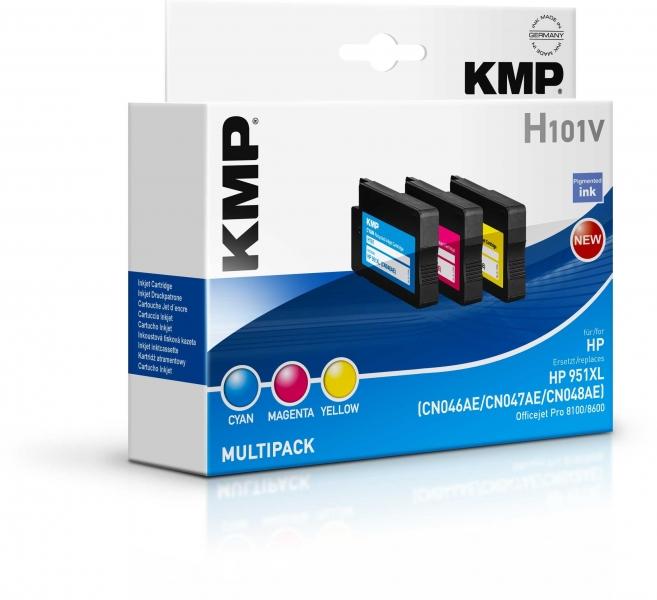 KMP Tintenpatronen MULTIPACK C/M/Y für HP 951XL Officejet Pro 8100/8600