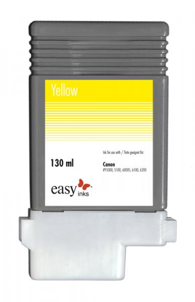 Easy Ink Tintentank Gelb für Canon iPF5100, iPF6100, iPF6200 mit kompatibler PFI-103 Tinte, 130ml