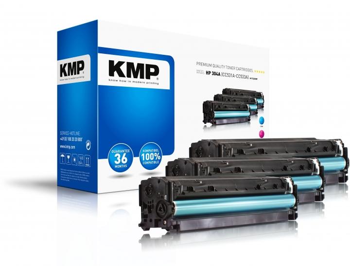 KMP H-T122CMY Toner Mulitpack ersetzt HP304A (CC531A, CC533A, CC532A)