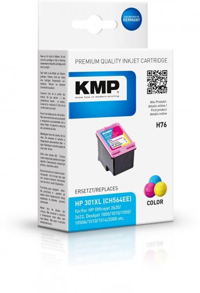 KMP Tinte H76 3-farbig ersetzt HP 301XL (CH564EE)