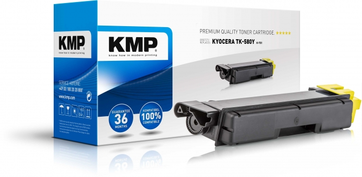 KMP K-T51 Toner Yellow ersetzt KYOCERA TK580Y (1T02KTANL0)