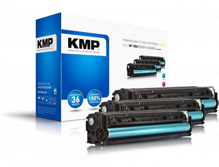 KMP H-T144CMY Toner Mulitpack ersetzt HP128A (CE321A, CE323A, CE322A)
