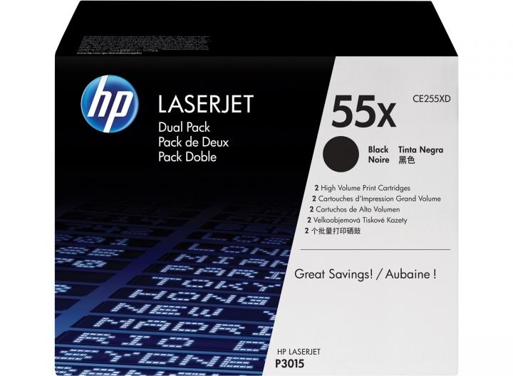 Toner HP CE255XD, Nr 55X Doppelpack 2 x CE255X, 2 x 12500 Seiten, schwarz