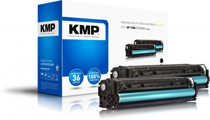 KMP H-T144D Toner Doppelpack Schwarz ersetzt HP 128A (CE320A)